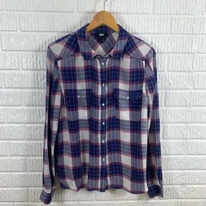 Paige Flannel Button Down Red Blue Large
